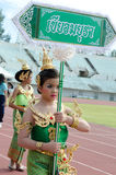 Thai girls in traditional dress during in a parade Royalty Free Stock Photo