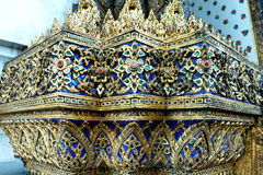 Thai Glass Mosaic wall decorative ornament from colorful glass in Wat Pho Temple, Bangkok Thailand Stock Image