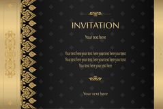 Thai gold on black luxury vintage vector abstract background Stock Images