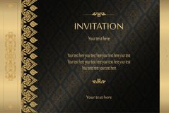 Thai gold on black luxury vintage vector abstract background invitation card, greeting card,celebration,congratulations Stock Photos