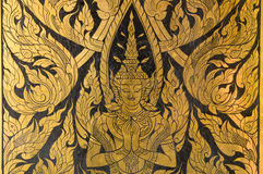 Thai gold painting art style on wall Royalty Free Stock Photos