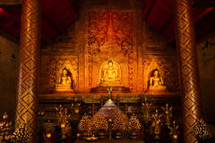 Thai gold statues and art background stock photo
