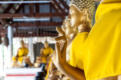 Thai golden buddha statue. In temple Stock Photos