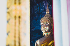 face of Thai golden buddha statue  Royalty Free Stock Photography