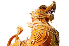 Thai golden lion statue style on white background Stock Photography