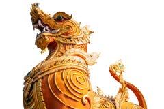 Thai golden lion statue style on white background Royalty Free Stock Photo
