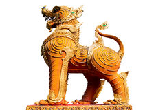 Thai golden lion statue style on white background Stock Images