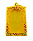 Thai golden sculpture amulet frame isolated on white. Backgroud Royalty Free Stock Photo