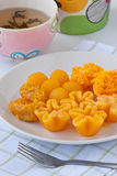 Thai golden sweetmeat. Traditional thai dessert made from yolk egg and sugar Stock Images