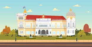 Thai Government House building. Vector illustration. Thai Government Building, Thai Government House Santi Maitri Building, Thai Khu Fah Mansion in Bangkok, Bird royalty free illustration
