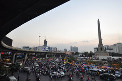Thai government protester mobbing by shutdown bangkok Stock Images