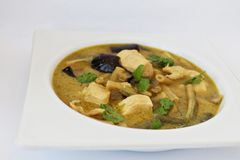 Thai green curry with chicken. Thai green curry (Gaeng Keow Wan Gai)  with chicken, eggplant and green beans Royalty Free Stock Photography