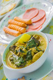 Thai green Curry Chicken. Green Curry Chicken,Sausage and ham Royalty Free Stock Image