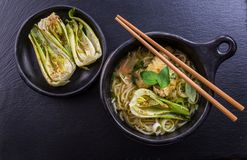 Thai green curry chicken soup with pak choi royalty free stock photography