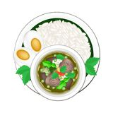 Thai Green Curry with Cooked Jasmine Rice Stock Images