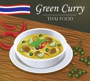 Thai Green Curry Gaeng Kiaw Wan vector style Stock Photography
