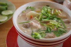 Thai green curry intense soup with chicken Royalty Free Stock Images