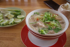 Thai green curry intense soup with chicken Stock Photos