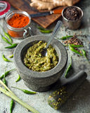 Thai Green Curry Paste. A delicious Thai green curry paste with mortar and pestle Stock Photography
