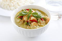 Thai green curry. Thai Green Prawn Curry the authentic dish cooked with vegetables and shrimp Royalty Free Stock Photo