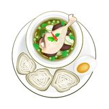 Thai Green Curry with Rice Vermicelli Stock Photo