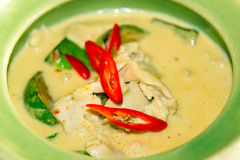 Thai green curry soup. In the bowl Stock Image