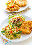 Thai green curry  spaghetti with fried chicken. Stock Images