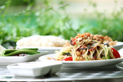 Thai green papaya salad add crab Royalty Free Stock Photo