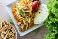 Thai green papaya salad called Som Tum Royalty Free Stock Photos