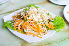 Thai green papaya salad on a plate. Thai green papaya salad on a white plate royalty free stock image