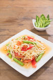 Thai Green Papaya Salad, Som Tam. Thai food on wooden table stock photos