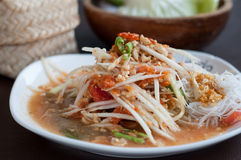 Thai Green Papaya Salad or Som tum. Royalty Free Stock Photography