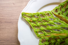 Thai Green Waffle. Thai sweets or Khanom Thai have unique colorful appearance and distinct flavors. The art of Thai desserts have been passed down through the Royalty Free Stock Images