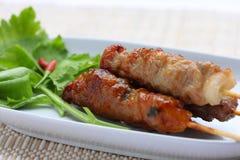 thai grillad pork Fotografering för Bildbyråer
