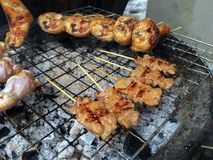 Thai grilled pork and grilled chicken on the flaming grill. stock images