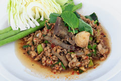 Thai ground pork salad, Spicy minced pork and pork liver salad. (Larb Mu) Royalty Free Stock Images