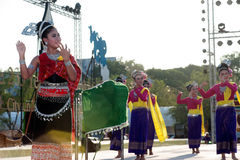 Thai group performing Thai music and Thai dancing. Royalty Free Stock Photos