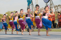 Thai group performing Thai music and Thai dancing. Stock Photo