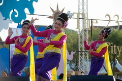 Thai group performing Thai music and Thai dancing. Royalty Free Stock Image