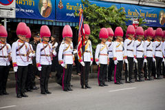 Thai guardsman band marching on the King of Thai monk, patriarch's funeral day Royalty Free Stock Photo