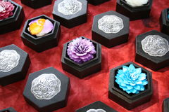Thai Handicraft Wax flower. Flowers made out of wax sold in the compound of Buddhist wat on Koh Samui Island Stock Photos