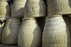 Thai Handmade Bamboo basketwork for Sticky Rice Steaming Stock Image