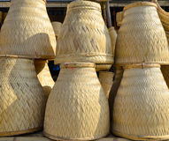 Thai Handmade Bamboo basketwork for Sticky Rice Steaming Royalty Free Stock Images