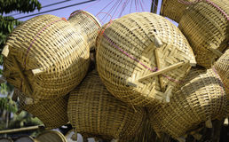 Thai Handmade Bamboo Fish Container Royalty Free Stock Photos