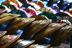Thai hats at markets royalty free stock photography