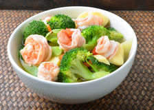 Thai healthy food boiled  broccoli with shrimp Royalty Free Stock Images