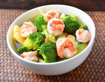 Thai healthy food boiled  broccoli with shrimp Stock Photography