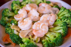 Thai healthy food stir-fried broccoli, carrot and shrimp Royalty Free Stock Image