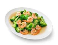 Thai healthy food stir-fried broccoli with  shrimp Royalty Free Stock Photo