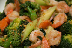 Thai healthy food stir-fried broccoli with shrimp Royalty Free Stock Photo